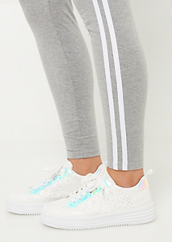 Iridescent Trim Platform Sneakers