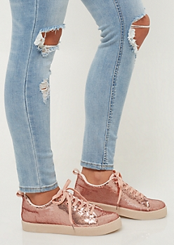 Rose Gold Sequins Lace Up Sneakers