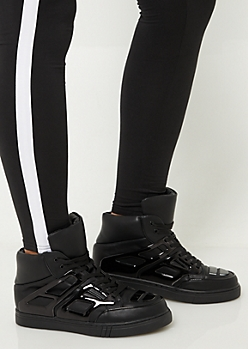 Black Patent Contrast High Top Sneakers