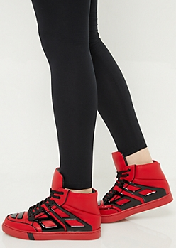 Red Patent Contrast High Top Sneakers