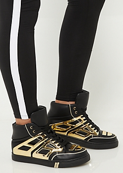 Gold Patent Contrast High Top Sneakers