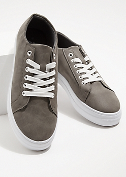 Gray Faux Leather Round Toe Sneakers