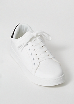 White Faux Leather Lace Up Sneakers