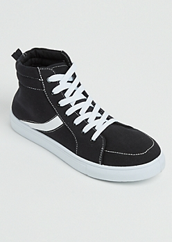 Black Striped High Top Sneakers
