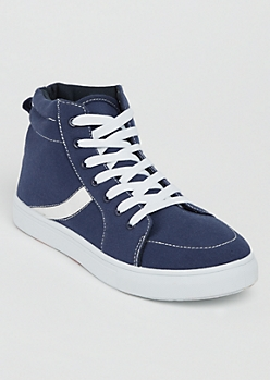 Navy Striped High Top Sneakers