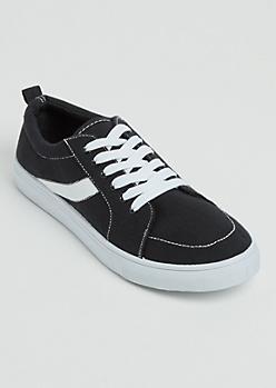 Black Striped Low Top Sneakers