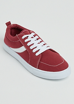 Burgundy Striped Low Top Sneakers