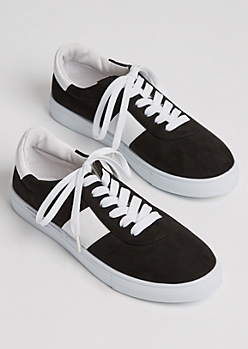 Black Faux Suede Striped Sneakers