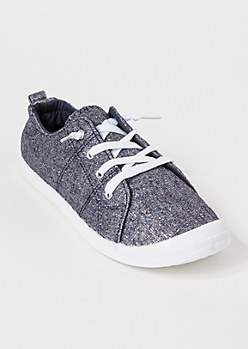 Navy Metallic Low Top Sneakers