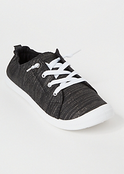 Black Metallic Low Top Sneakers