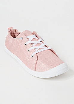 Pink Metallic Low Top Sneakers