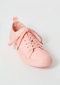 Pink Canvas Lace Up Sneakers