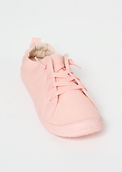 Pink Canvas Scrunched Heel Slip On Shoes
