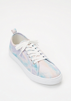 Pastel Tie Dye Canvas Lace Up Sneakers