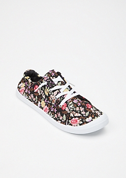 Black Floral Print Low Top Sneakers