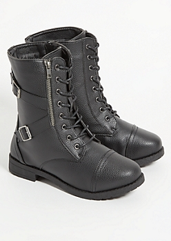Black Faux Leather Lace Up Combat Boots - Wide Width