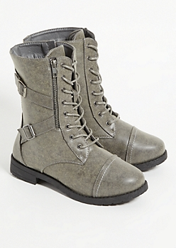 Gray Faux Leather Lace Up Combat Boots - Wide Width