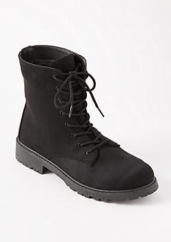 Black Faux Suede Combat Boots - Wide Width