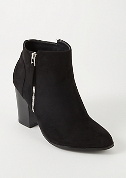 Black Side Zip Booties - Wide Width