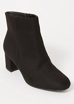 Black Block Heeled Booties - Wide Width