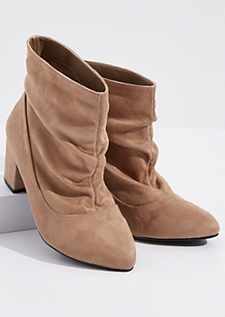 Taupe Slouchy Faux Suede Heeled Booties - Wide Width