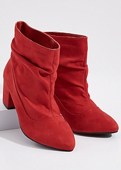 Red Slouchy Faux Suede Heeled Booties - Wide Width