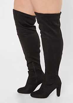 Black Faux Suede Over The Knee Heeled Boots - Wide Width