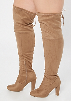 Taupe Faux Suede Over The Knee Heeled Boots - Wide Width