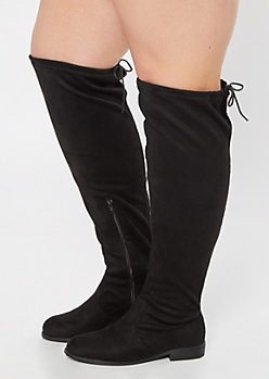 Black Faux Suede Over The Knee Flat Boots - Wide Width