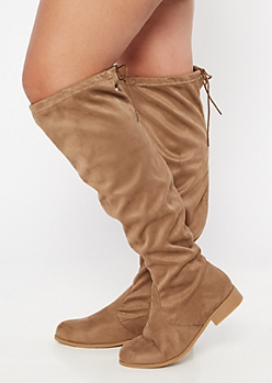 Taupe Faux Suede Over The Knee Flat Boots - Wide Width