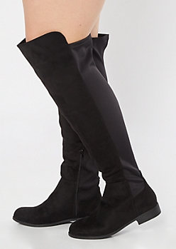 Black Scuba Back Over The Knee Boots - Wide Width