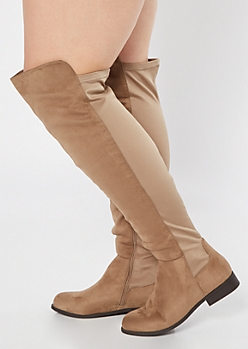 Taupe Scuba Back Over The Knee Boots - Wide Width