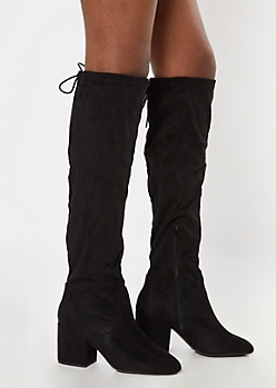 Black Over The Knee Block Heel Boots - Wide Width