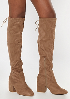 Taupe Over The Knee Block Heel Boots - Wide Width