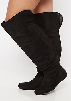 Black Vented Over The Knee Flat Boots - Wide Width