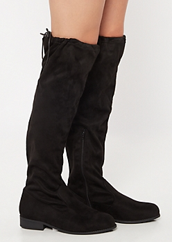 Black Tie Over The Knee Boots - Wide Width