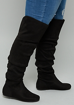 Black Faux Suede Over The Knee Slouchy Flat Boots - Wide Width