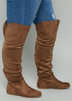 Brown Faux Suede Over The Knee Slouchy Flat Boots - Wide Width