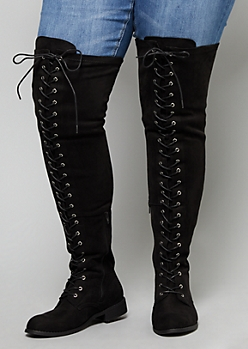 Black Faux Suede Over The Knee Lace Up Boots - Wide Width