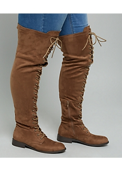 Brown Faux Suede Over The Knee Lace Up Boots - Wide Width