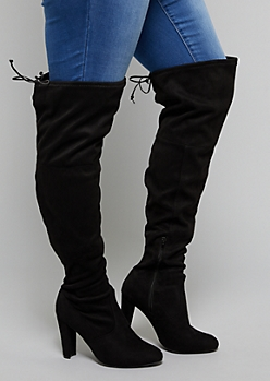 Black Faux Suede Thigh High Boots - Wide Width