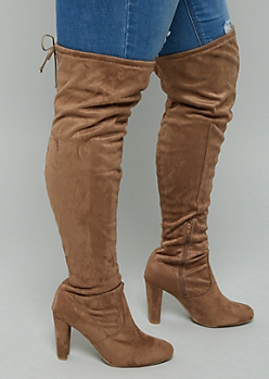 Brown Faux Suede Thigh High Heeled Boots - Wide Width