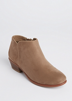 Taupe Faux Suede Booties - Wide Width