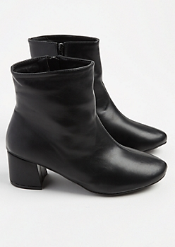 Black Faux Leather Booties - Wide Width