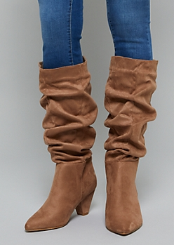 Taupe Faux Suede Slouchy Boots - Wide Width