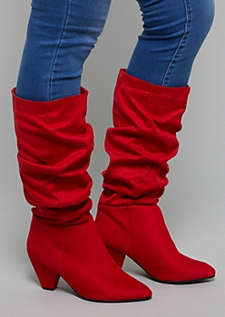 Red Faux Suede Slouchy Boots - Wide Width