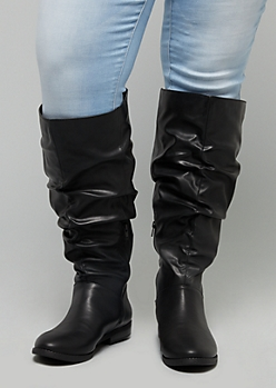 Black Slouchy Knee High Boots - Wide Width