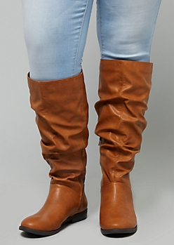 Cognac Slouchy Knee High Boots - Wide Width