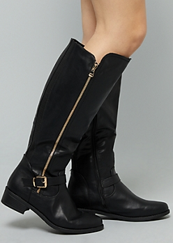Black Faux Leather Side Zip Knee High Boots - Wide Width