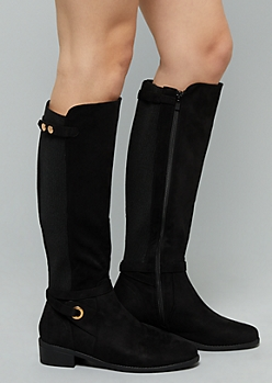 Black Ribbed Knit Ankle Strap Knee High Boots - Wide Width